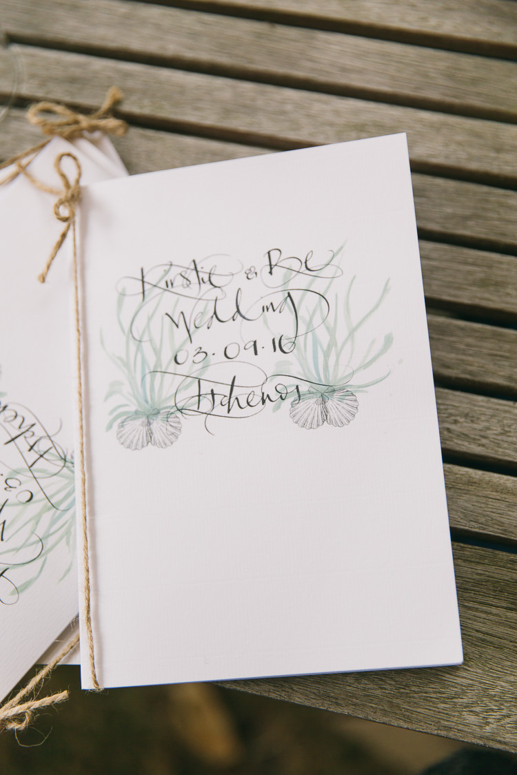 Stationery Illustrated Watercolour Sea Order Service Twine Creative Cool Bohemian Harbourside Wedding http://carohutchings.com/
