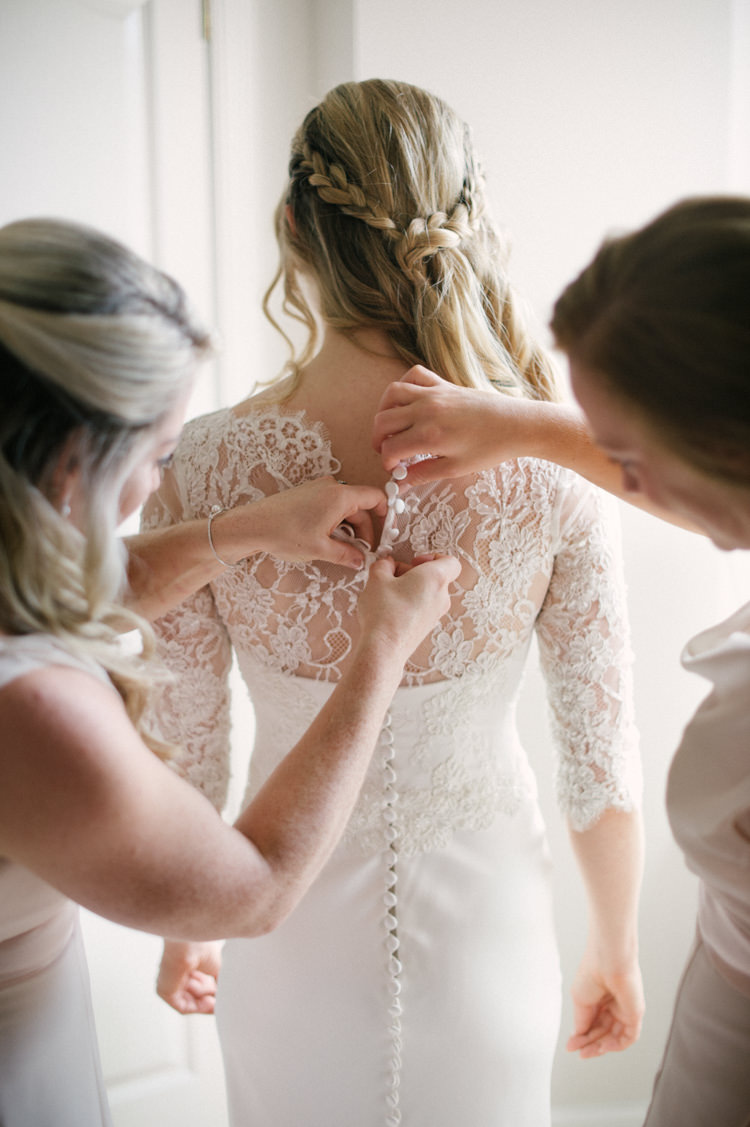 Lace Sleeve Button Back Dress Gown Bride Bridal Opulent Metallics City Library Wedding http://www.croandkowlove.com/