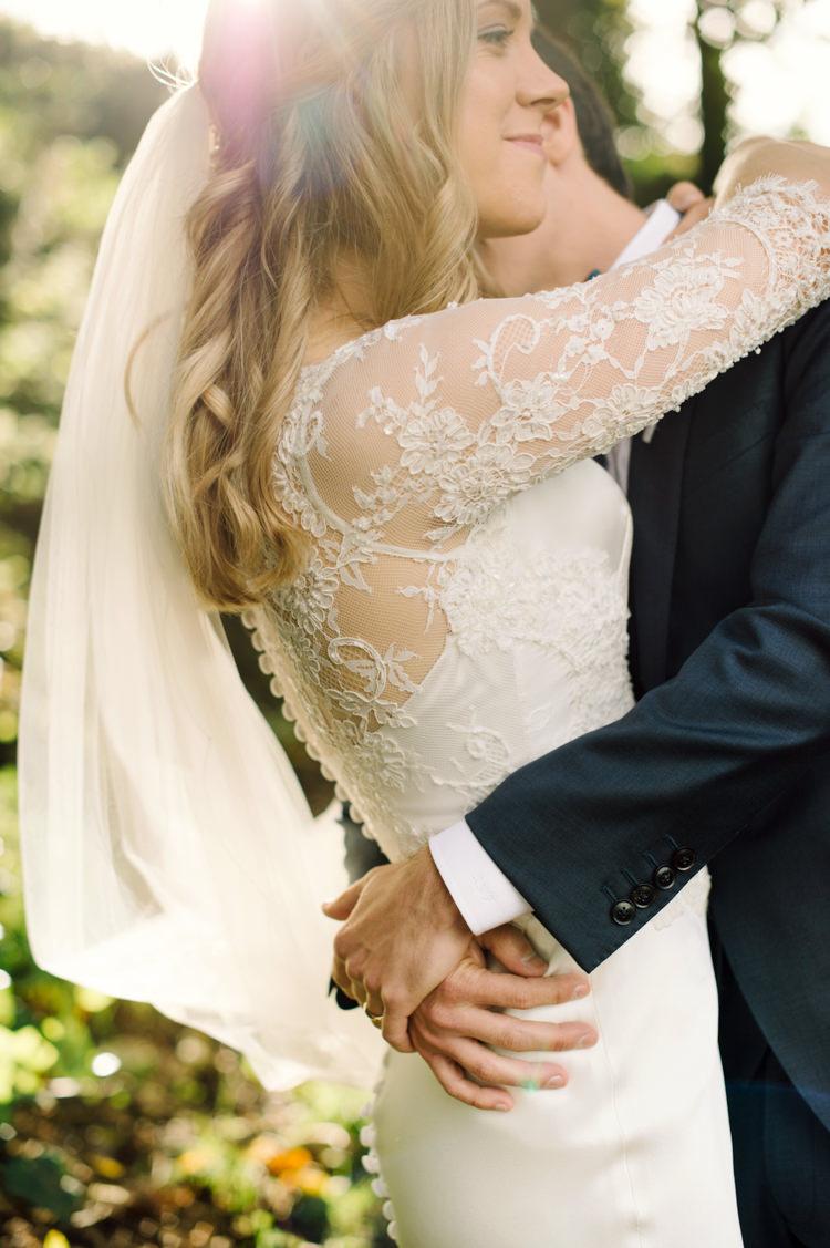 Lace Sleeve Button Dress Gown Bride Bridal Opulent Metallics City Library Wedding http://www.croandkowlove.com/