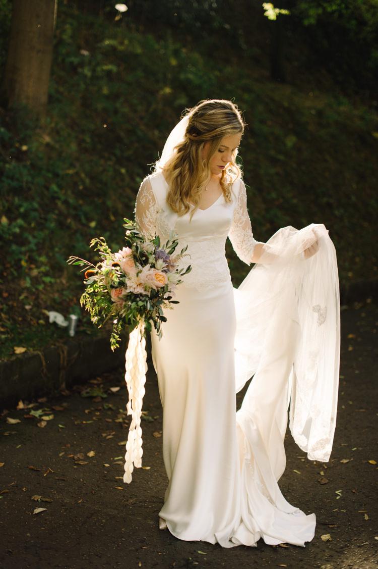 Silk Lace Dress Gown Bride Bridal Sleeves Opulent Metallics City Library Wedding http://www.croandkowlove.com/