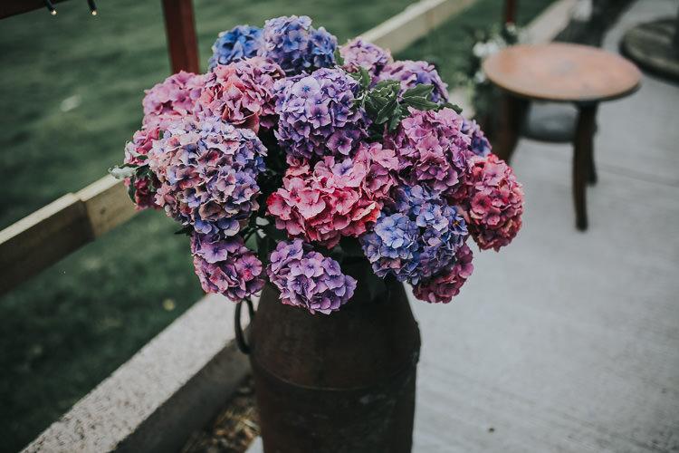 Flowers Floral Hydrangea Blue Pink Milk Churn DIY Farm Weekend Long Wedding http://www.nestalloyd.co.uk/