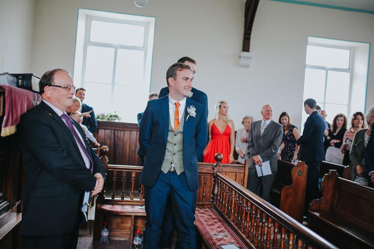 Groom Groomsmen Waistcoat Orange Tie Navy Suit DIY Farm Weekend Long Wedding http://www.nestalloyd.co.uk/