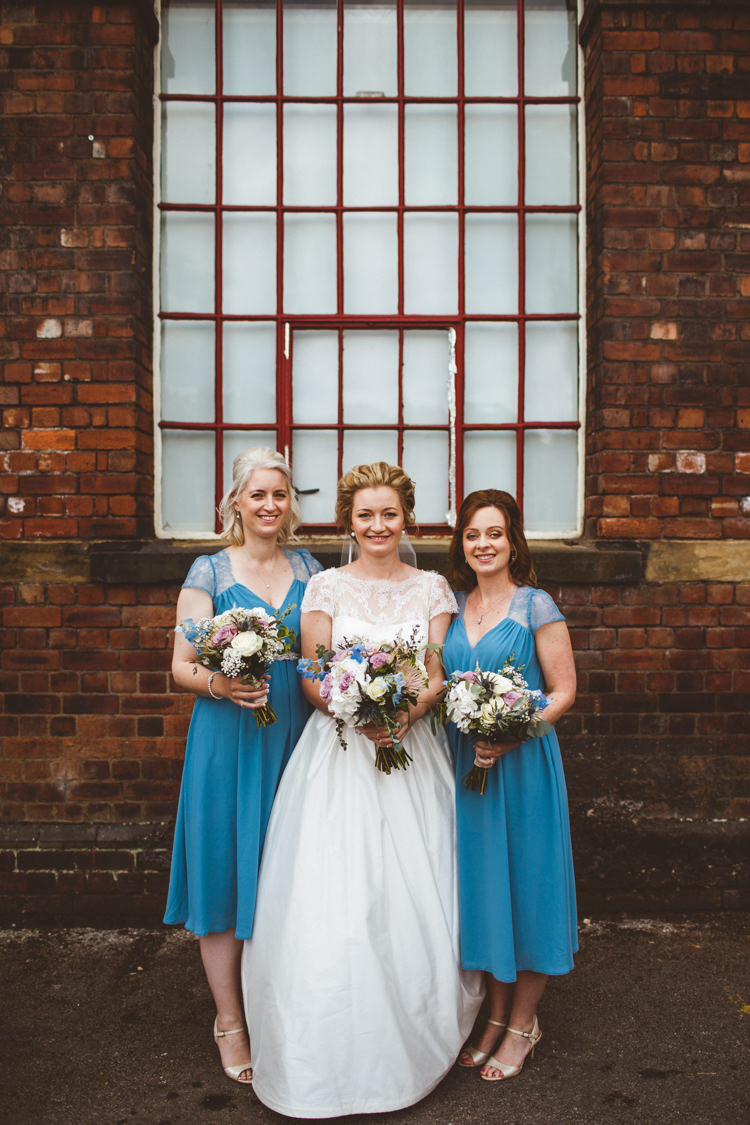 Bride Bridal Tara Keeley Dress ASOS Bridesmaids Blue Pastel Bouquets Industrial Cool Museum Wedding https://photography34.co.uk/