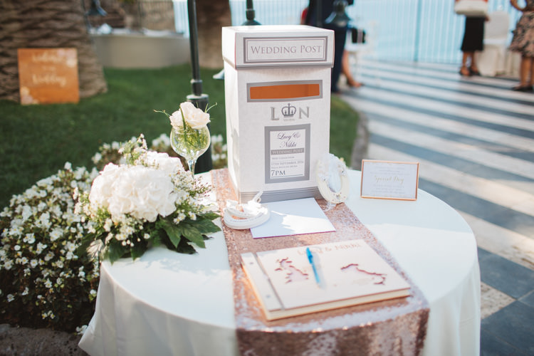 Rose Gold Sequin Runner Table Cloth Post Box Cards Decor Guest Book Elegant Stylish Sorrento Destination Wedding http://www.francessales.co.uk/