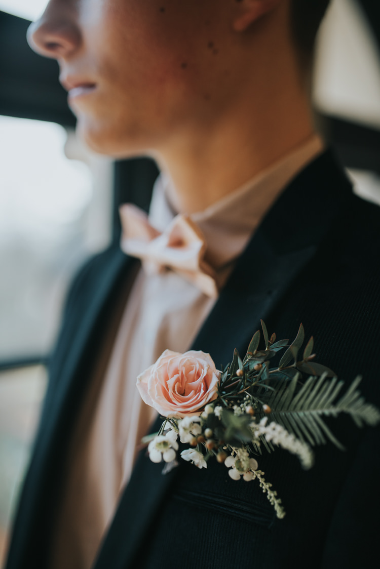 Buttonhole Groom Large Flowers Foliage Pink Rose Industrial Into The Wild Greenery Wedding Ideas http://www.ivoryfayre.com/