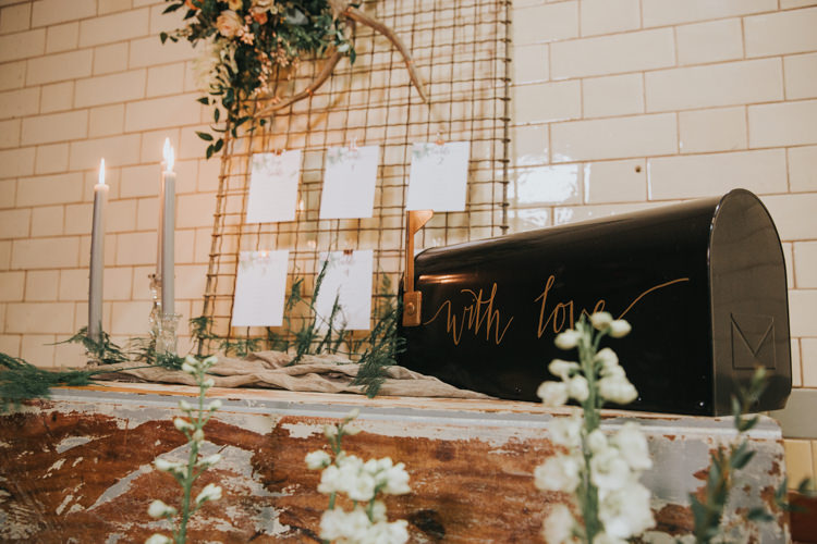 Mail Box Cards Black Calligraphy Copper Industrial Into The Wild Greenery Wedding Ideas http://www.ivoryfayre.com/