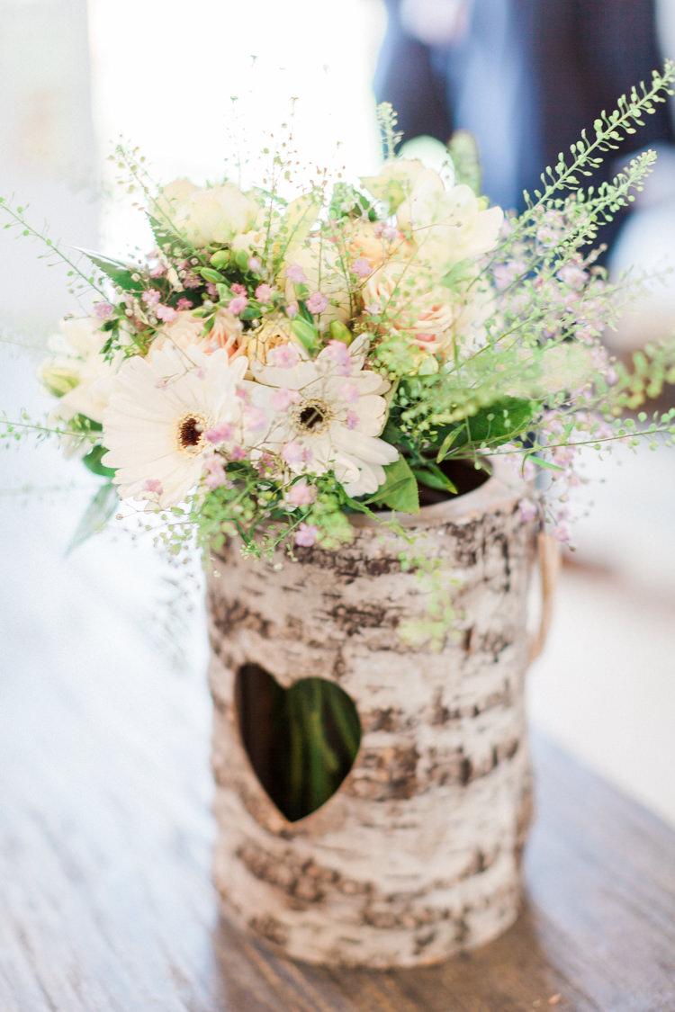 Heart Log Vase Flowers Modern Rustic Ivory Barn Wedding http://vickylamburn.com/