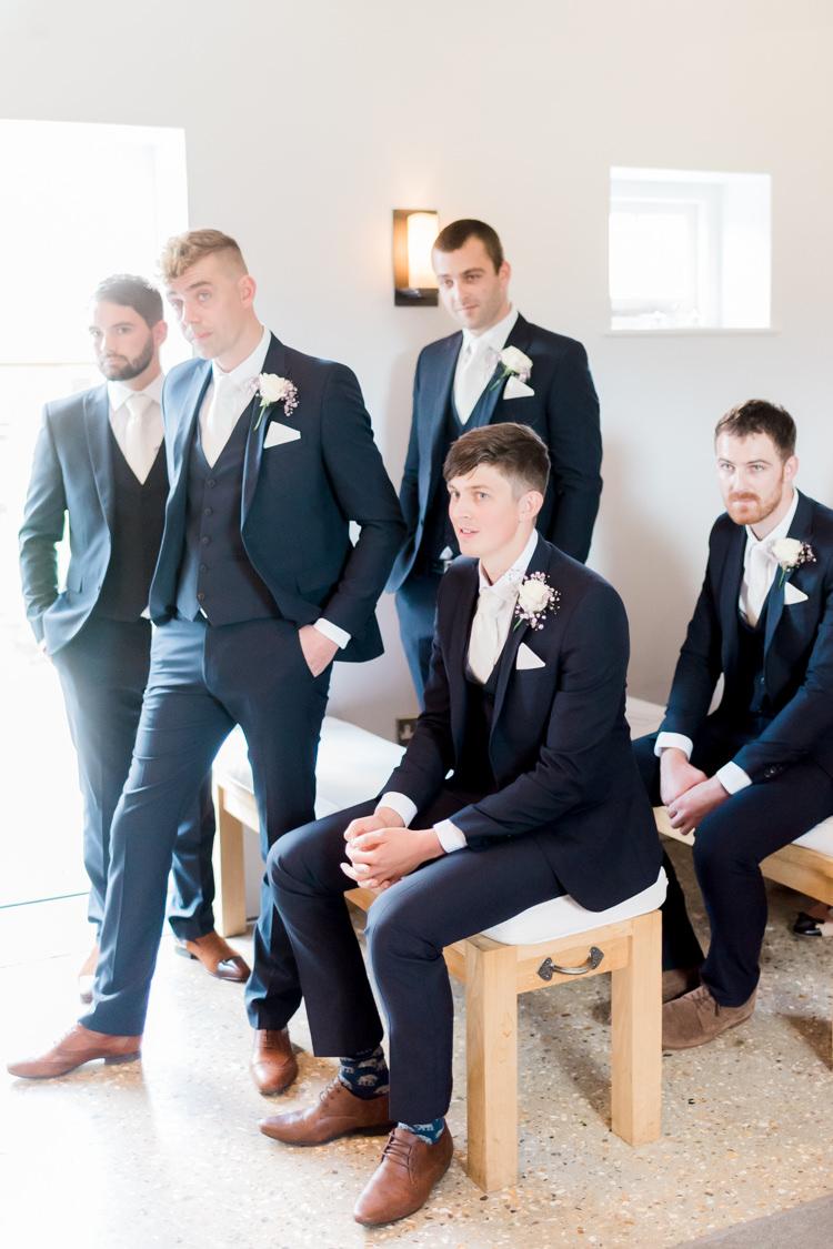 Navy Suits Next Groomsmen Tan Shoes Modern Rustic Ivory Barn Wedding http://vickylamburn.com/