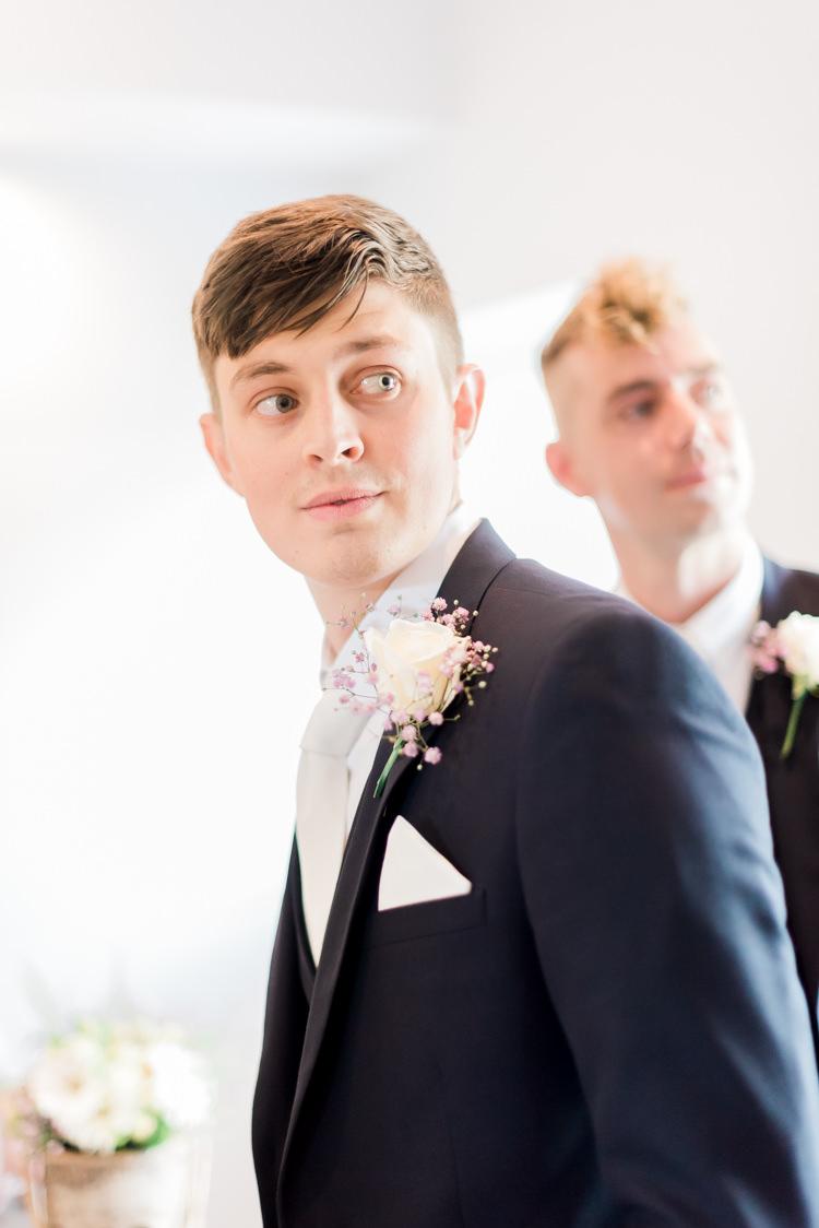 Rose Buttonhole Groom Modern Rustic Ivory Barn Wedding http://vickylamburn.com/