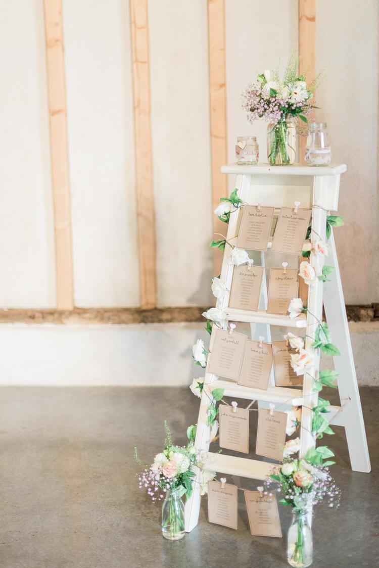 Ladder Seating Plan Table Chart Modern Rustic Ivory Barn Wedding http://vickylamburn.com/