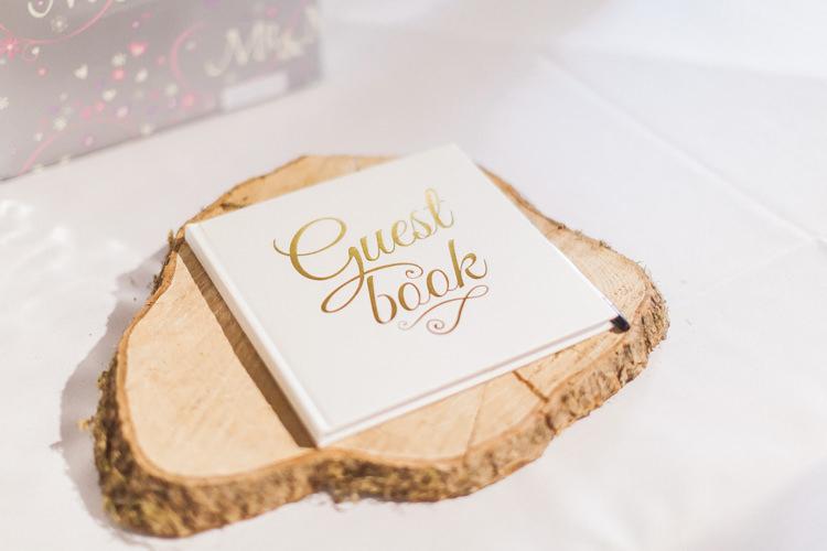 Guest Book Log Slice Modern Rustic Ivory Barn Wedding http://vickylamburn.com/