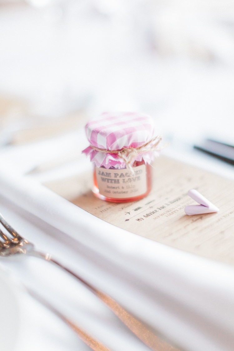 Jam Favours Modern Rustic Ivory Barn Wedding http://vickylamburn.com/