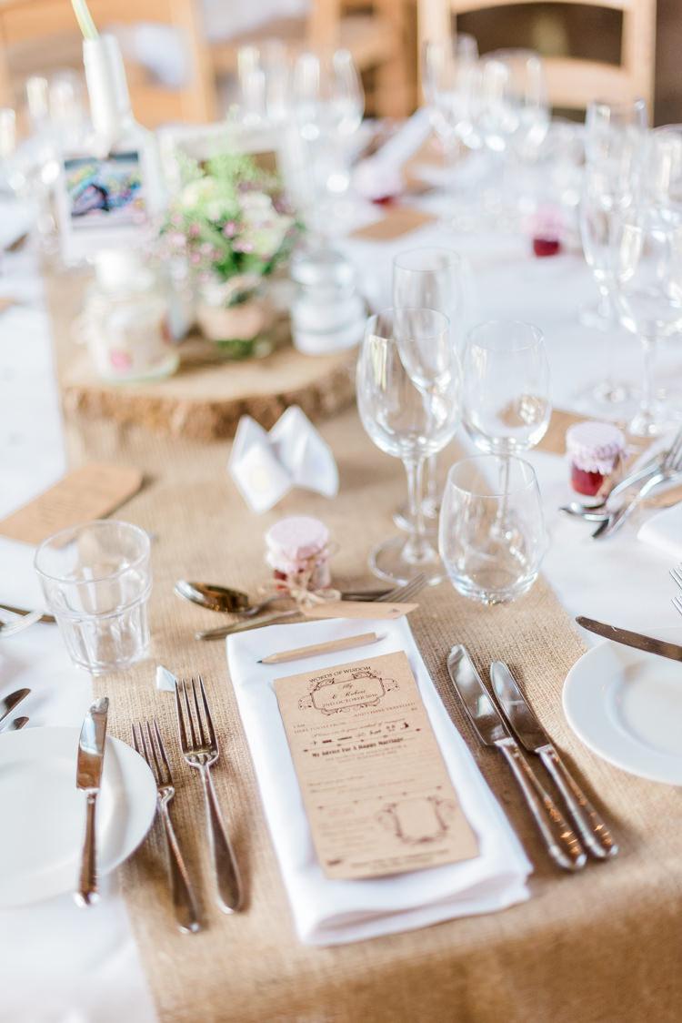 Hessian Burlap Table Cloth Runner Modern Rustic Ivory Barn Wedding http://vickylamburn.com/