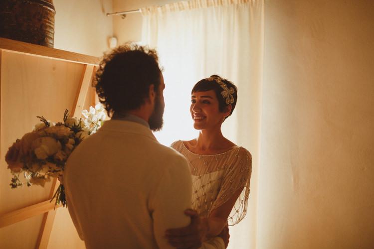 First Look Bride Groom Beautifully Intimate Open Air Wedding Umbria http://www.edpeers.com/