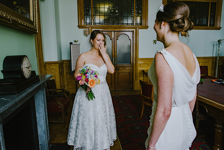 First Look Tea Length Dress Grecian Brides Bridal Multicolour Bouquet Colourful Fun Party Brighton Wedding http://jmcsweeneyphotography.co.uk/