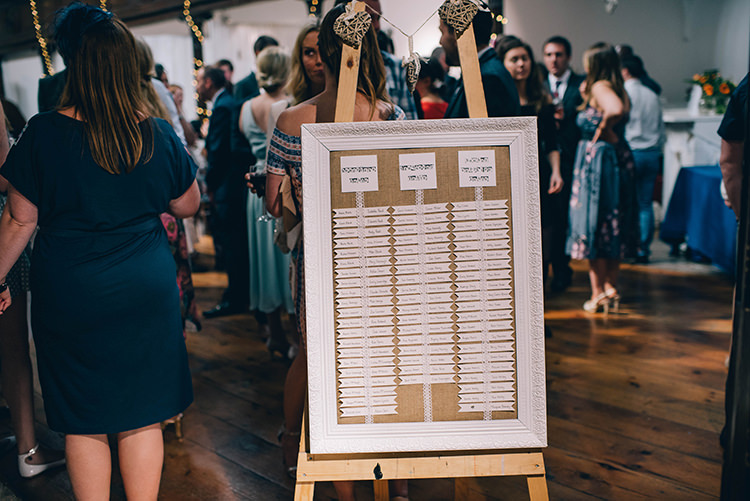 Table Plan Seating Chart White Frame Hessian Easel Colourful Fun Party Brighton Wedding http://jmcsweeneyphotography.co.uk/