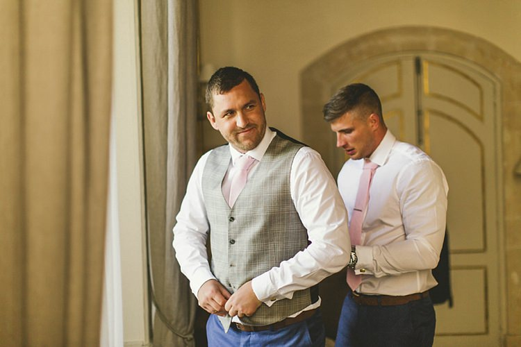 TM Lewin Groom Pink Tie Waistcoat Natural Romantic Chateau Destination Wedding South of France http://www.jayrowden.com/