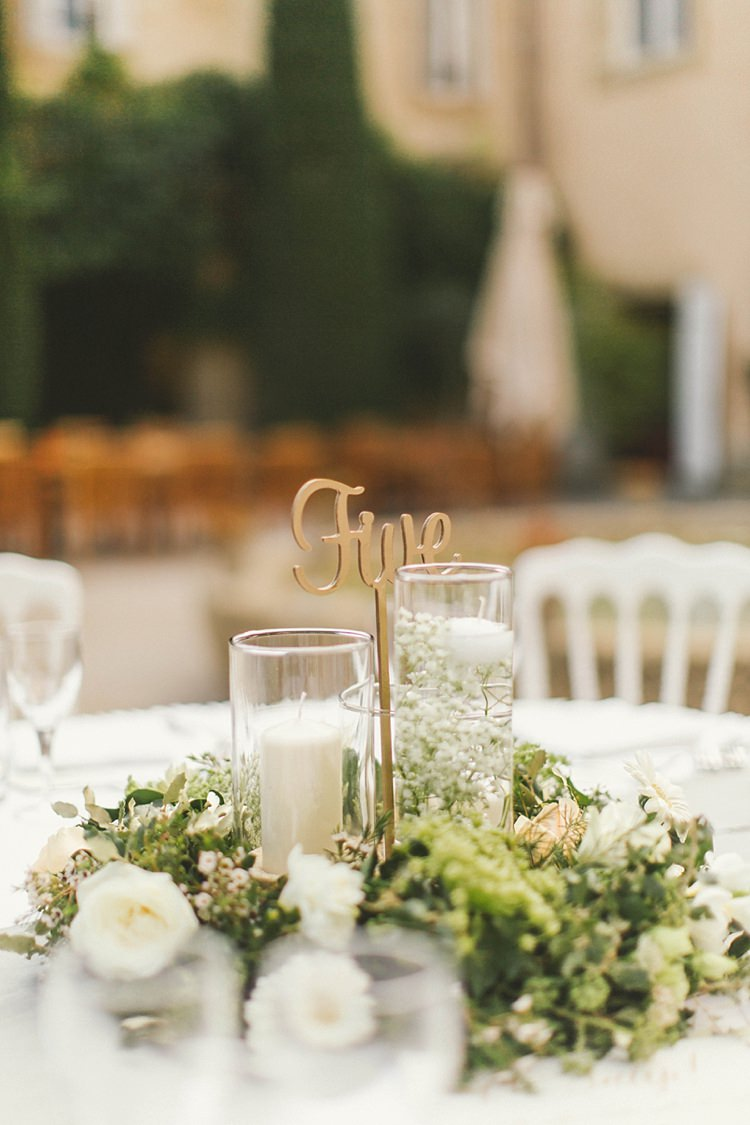 Table Number Laser Cut Gold Wooden Table Centre Candles Natural Romantic Chateau Destination Wedding South of France http://www.jayrowden.com/