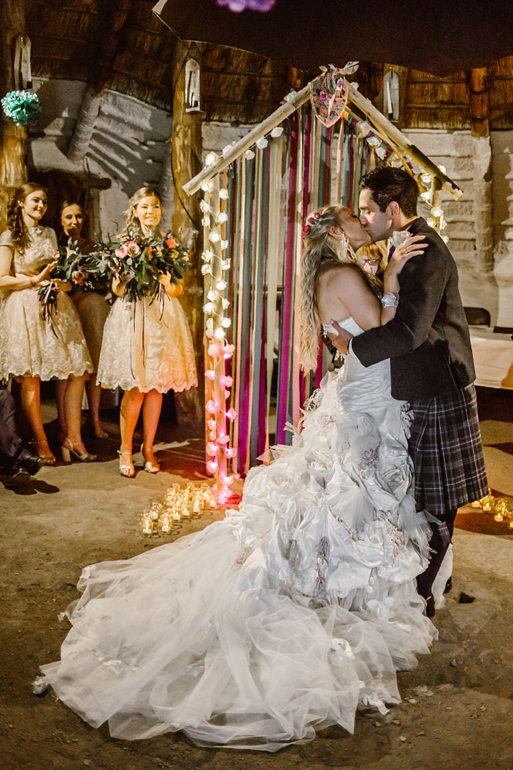 Backdrop Arch Lights Ribbons Ceremony Creative Woodland Mad Hatters Tea Party Wedding https://www.clairefleckphotography.com/