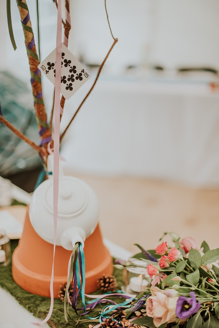 Tea Pot Centrpeice Decor Table Creative Woodland Mad Hatters Tea Party Wedding https://www.clairefleckphotography.com/