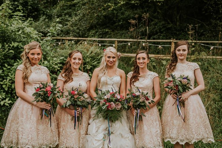 Short White Blush Lace Bridesmaid Dresses Creative Woodland Mad Hatters Tea Party Wedding https://www.clairefleckphotography.com/