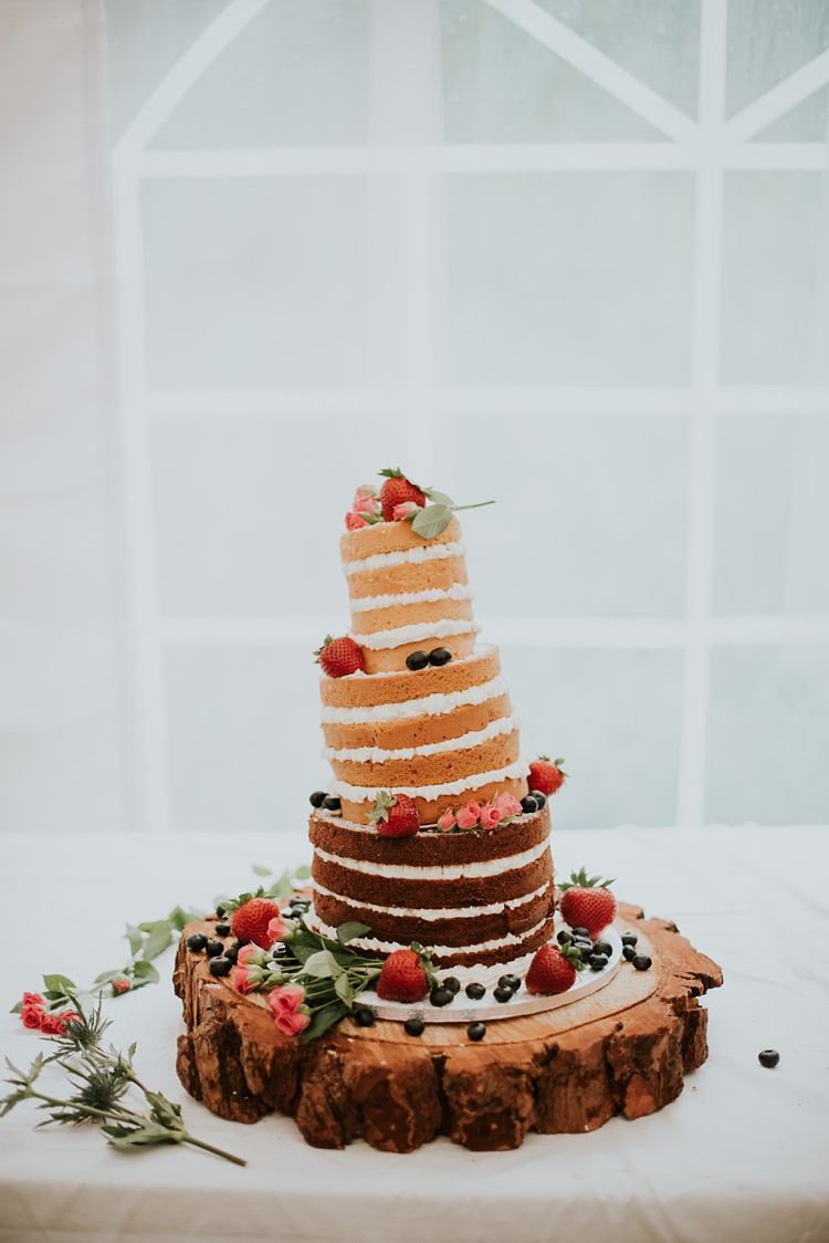 Naked Cake Layer Sponge Gluten Free Berries Log Rustic Creative Woodland Mad Hatters Tea Party Wedding https://www.clairefleckphotography.com/