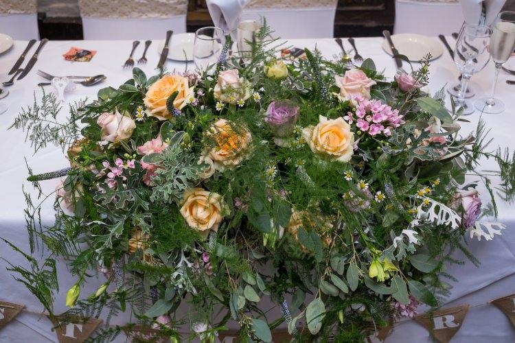 Top Table Floral Arrangement Orange Rose Fern Eucalyptus Greenery Pretty Quirky Pastel Wedding http://www.happilyevercaptured.com/