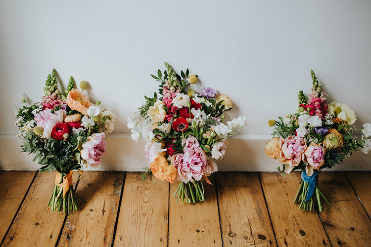 Bouquets Flowers Colourful Bride Bridal Bridesmaids PEony Poppy Sweet Pea Casual City Stylish Pub Wedding http://www.ireneyapweddings.com/
