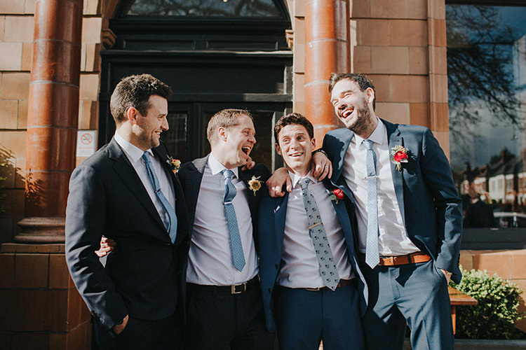 Mismatched Groomsmen Suits Casual City Stylish Pub Wedding http://www.ireneyapweddings.com/