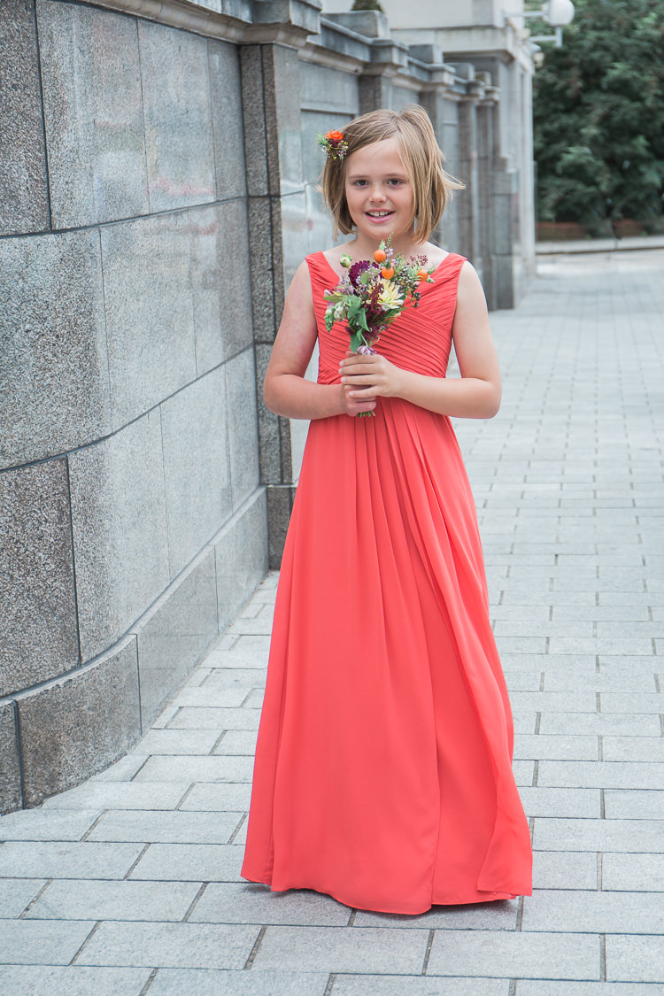 Coral Flower Girl Bridesmaid Dress Intimate Elegant Two Day City Wedding http://siobhanhphotography.com/