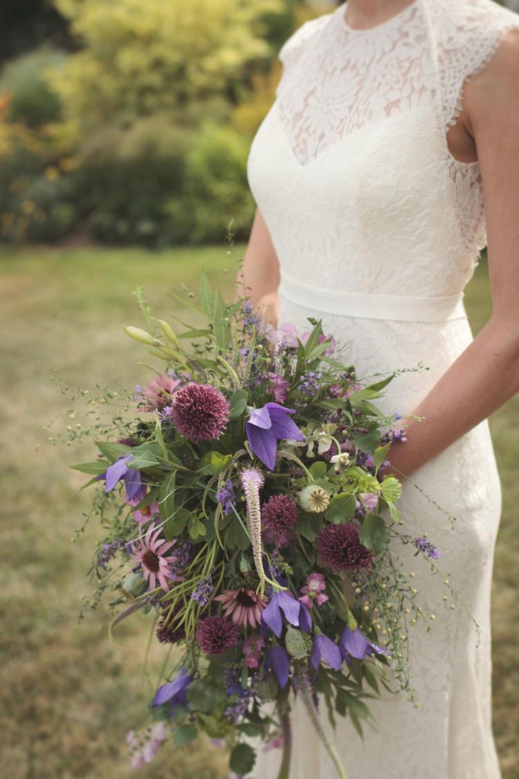 Wild Flower Bouquet Bride Bridal Purple Casual Country Farm Wedding Ontario https://tiedphotography.com/