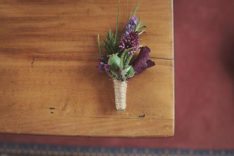 Purple Buttonhole Twine Groom Casual Country Farm Wedding Ontario https://tiedphotography.com/