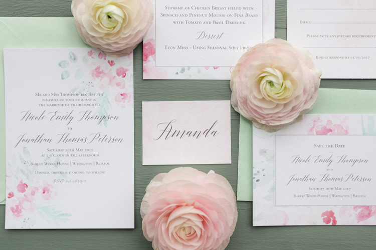 Watercolour Floral Stationery Invitations Invites Suite Pretty Soft Country Garden Pastel Wedding Ideas https://www.ellielouphotography.co.uk/