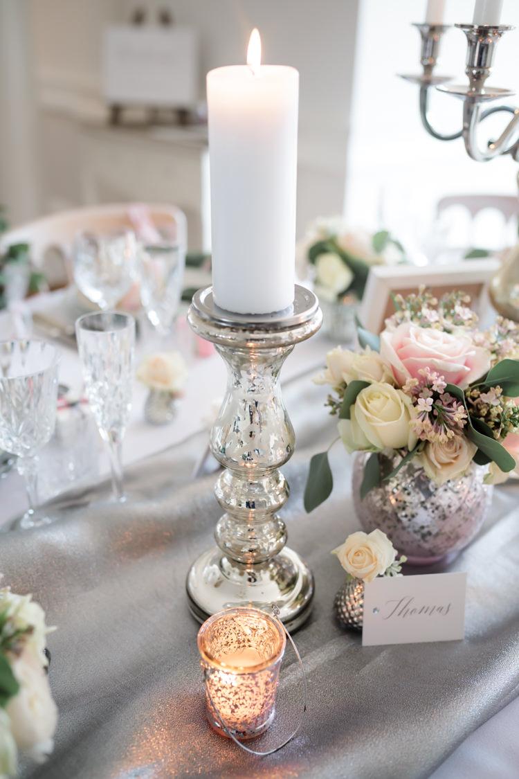 Candle Silver Lighting Decor Centrepiece Pretty Soft Country Garden Pastel Wedding Ideas https://www.ellielouphotography.co.uk/