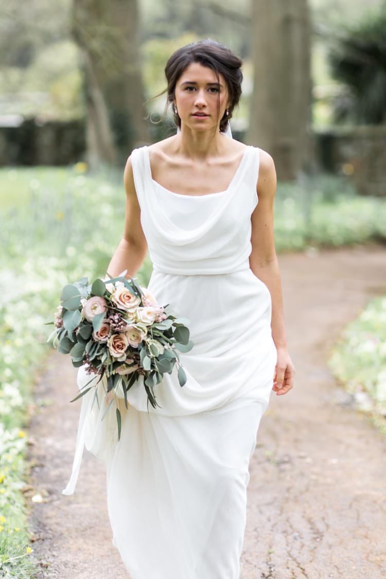 Cowl Neck Dress Bride Bridal Gown Pretty Soft Country Garden Pastel Wedding Ideas https://www.ellielouphotography.co.uk/