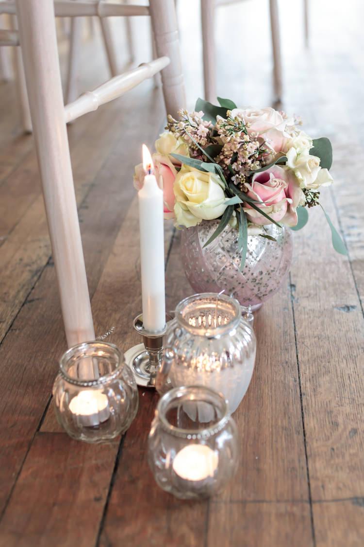 Candles Flowers Pew End Aisle Floor Decor Ceremony Pretty Soft Country Garden Pastel Wedding Ideas https://www.ellielouphotography.co.uk/
