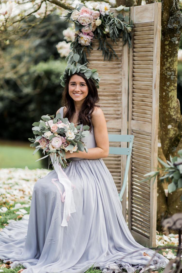 Grey Dress Bride Bridal Style Pretty Soft Country Garden Pastel Wedding Ideas https://www.ellielouphotography.co.uk/