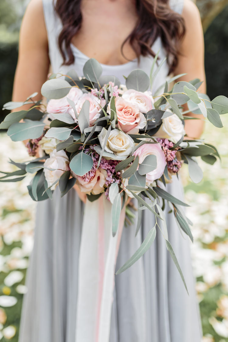 Eucalyptus Rose Ranunculus Bouquet Ribbon Flowers Bride Bridal Pretty Soft Country Garden Pastel Wedding Ideas https://www.ellielouphotography.co.uk/