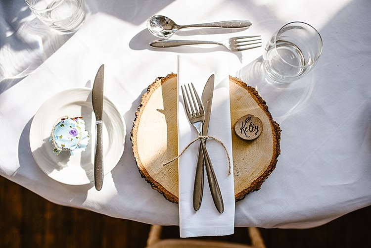 Log Slice Place Mat Setting Name Beautiful Countryside Wedding Ideas Inspiration http://www.georginabrewster.com/