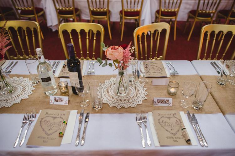 Hessian Burlap Doily Decor Table Crafty Fun Personal Arts Centre Wedding http://www.sophieduckworthphotography.com/