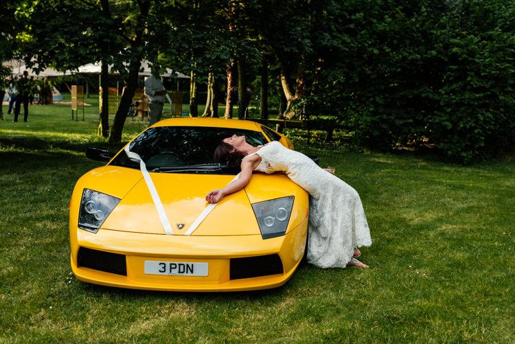 Yellow Super Car Fun Loving Secret Garden Tipi Wedding https://www.aaroncollettphotography.co.uk/