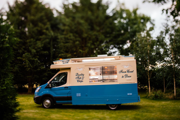 Fish Chip Van Truck Fun Loving Secret Garden Tipi Wedding https://www.aaroncollettphotography.co.uk/