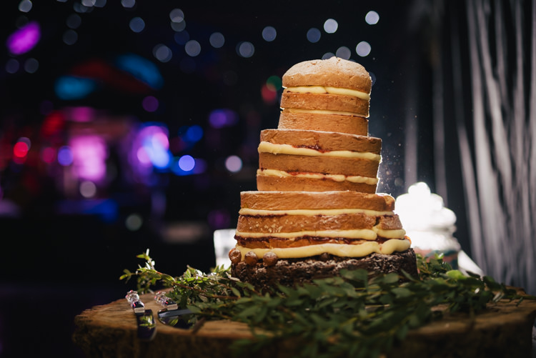 Naked Cake Sponge Layer Bare Industrial Glam Marquee Wedding http://www.stottandatkinson.com/