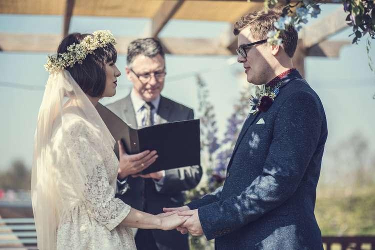 Ceremony Bride Bridal Kula Tsurdiu Dress Flower Crown Veil Next Groom Three Piece Tweed Blue Burgandy Quirky Seaside Farm Wedding http://www.thomasthomasphotography.co.uk/