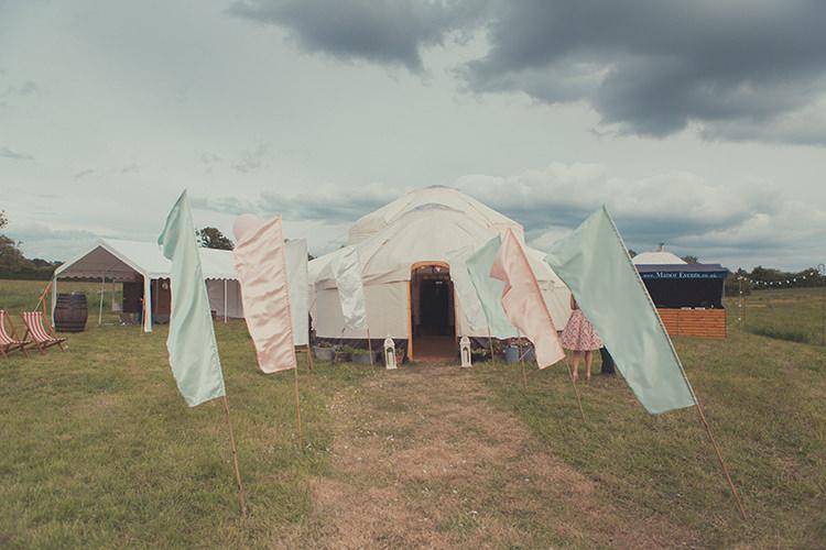 Festival Flags Decor Whimsical Countryside Yurt Wedding http://jamesgreenphotographer.co.uk/