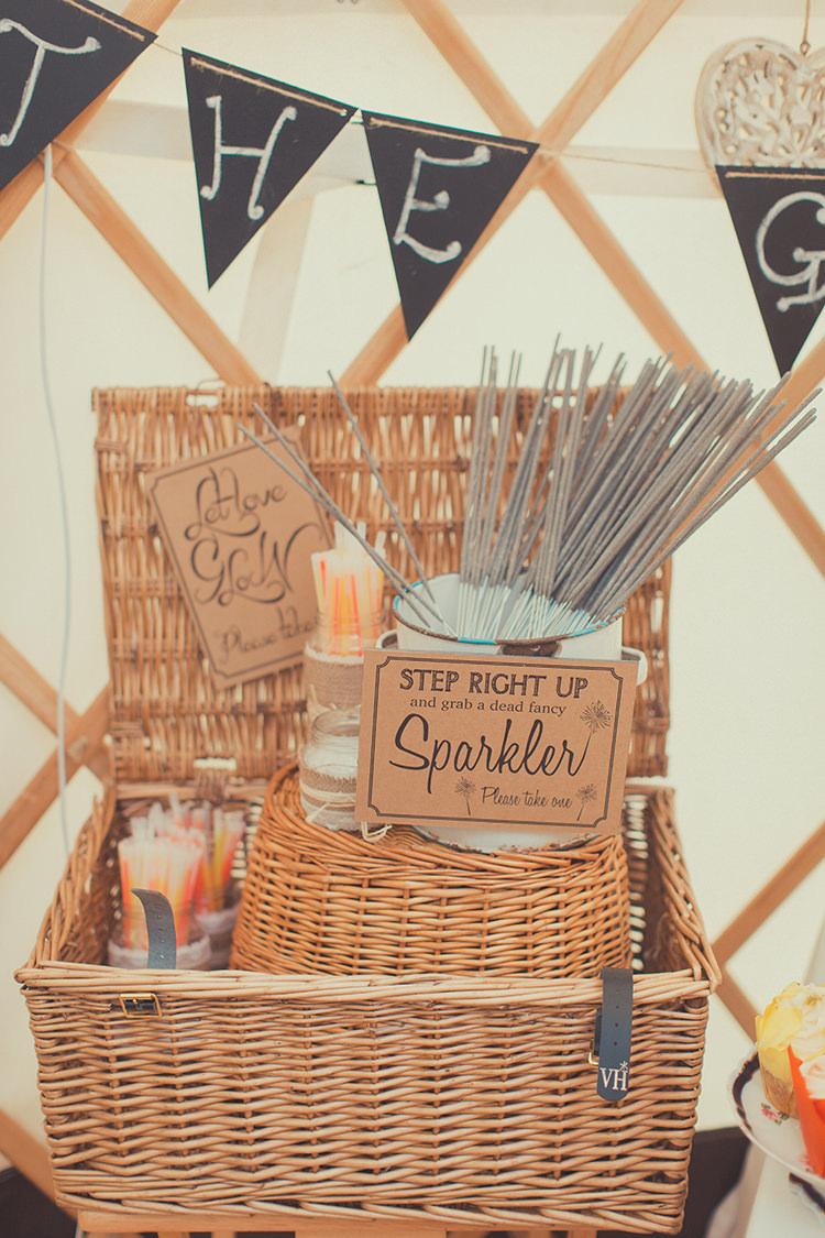 Sparklers Hamper Basket Whimsical Countryside Yurt Wedding http://jamesgreenphotographer.co.uk/