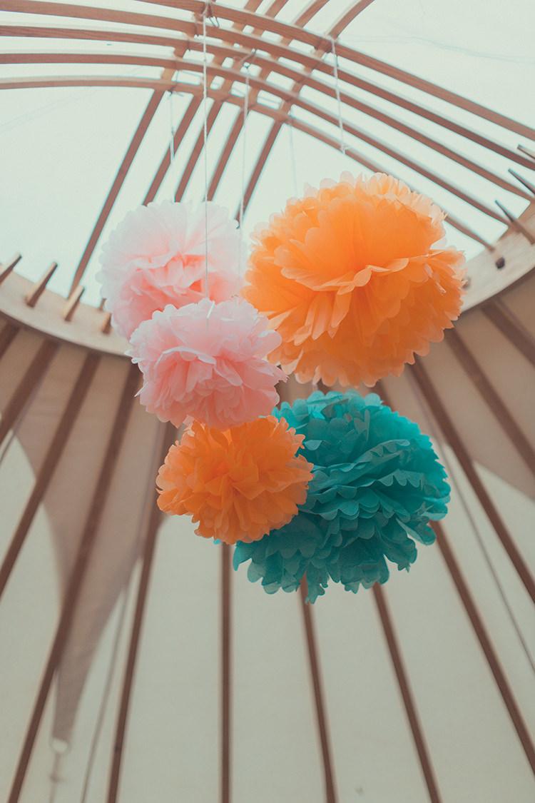 Pom Poms Whimsical Countryside Yurt Wedding http://jamesgreenphotographer.co.uk/