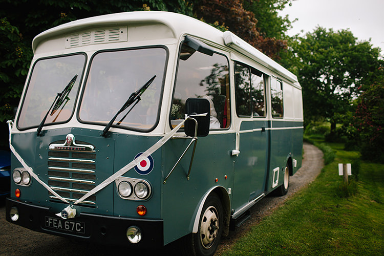 Vintage Bus Transport Indie Outdoorsy Cowshed DIY Wedding http://www.danhoughphoto.com/