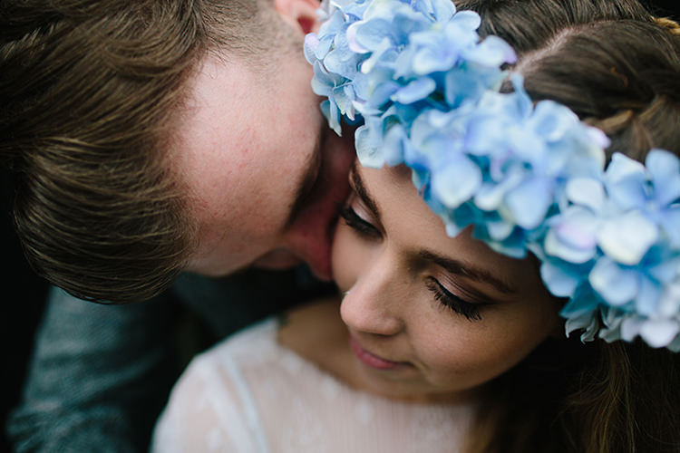 Blue Hydrangea Flower Crown Bride Bridal Indie Outdoorsy Cowshed DIY Wedding http://www.danhoughphoto.com/