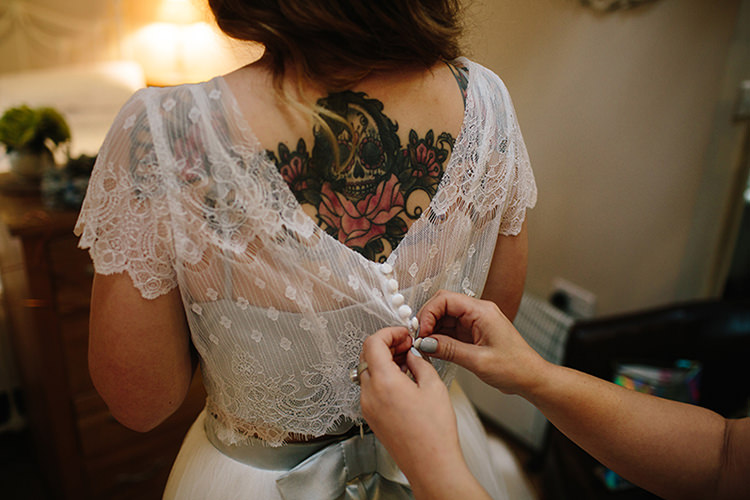 Tattoo Bride Bridal Gown Separates Lace Buttons Top Indie Outdoorsy Cowshed DIY Wedding http://www.danhoughphoto.com/